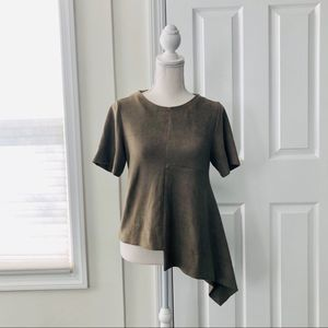 Gracia Olive Brown Faux Suede Asymmetric Hem Top S